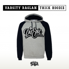 "Grey and Black ""Varsity"" Raglan Thick Pullover Hoodie"